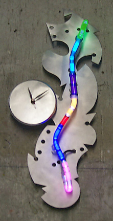 """Whimsy Clock II, featured in this virtual neon art gallery, displaying the neon sculpture and neon art installations, including modern and contemporary art work as well as a line of neon clocks and wall sconces"